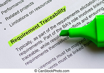 requirement traceability sentence highlighted by green...