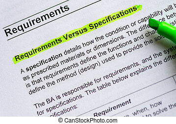 requirement versus specification sentence highlighted by...