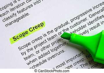 scope creep sentence highlighted by green marker