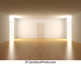 Door in a empty room - 3D rendered Interior. An empty room.