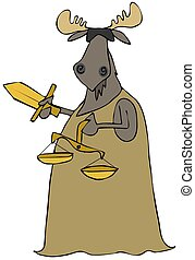 Moose justice - This illustration depicts a blindfolded bull...