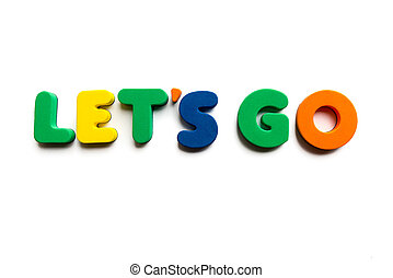 let's go colorful word on the white background