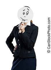 Expressing positivity - Businesswoman hiding her face behind...