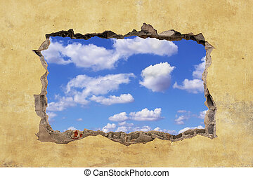Hole in Wall - A Hole in a Wall with Blue Sky