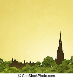 Church Spire - Slightly Grungy Landscape with Church Spire...