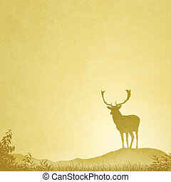 Male Stag Deer - Slightly Grungy Landscape Illustration with...