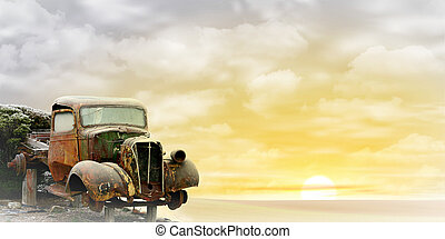Old Truck - An Old Truck with Misty Sunrise, Sunset. - A...