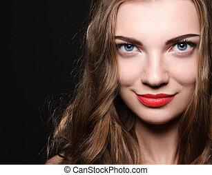 Beautiful caucasian young woman with red lips make up and...