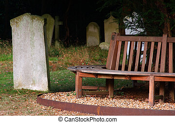 Resting place - Grave yard seating with headstone