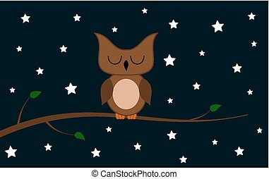 an owl on a branch at night