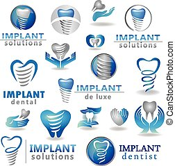 Dental implants symbol collection. Clean and bright designs....
