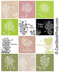Spring cards with decorative lecy tree