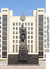 monumento, a, Lenin, cerca, goverment,