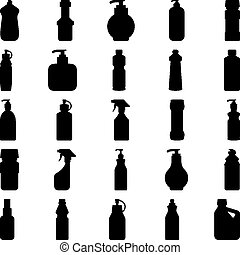 Set of silhouettes of containers