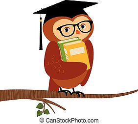 Academic owl holding a book