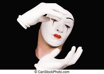 portrait, mime, blanc, gants