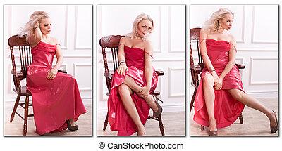mujer, en, rojo, Vestido,