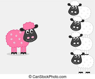 a pink sheep with male sheep