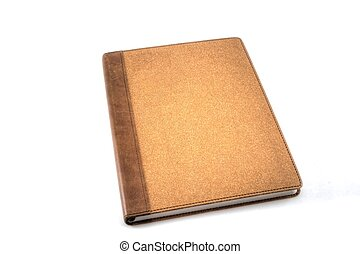 Travel Journal - A brown travel journal isolated on white.
