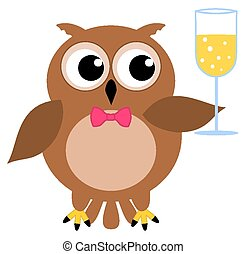 an owl at a party with champagne gl