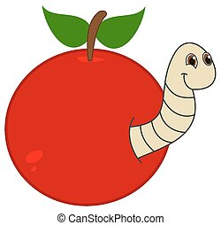 a maggot emerging from an apple or