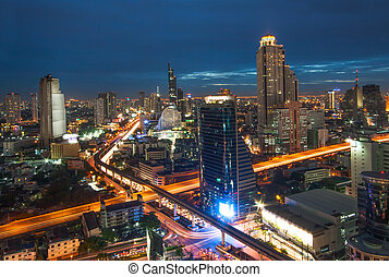 Bangkok city view with traffic