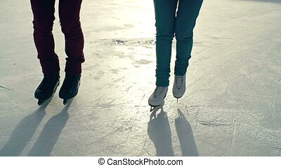 Winter Sports - Two unidentified people approaching camera...