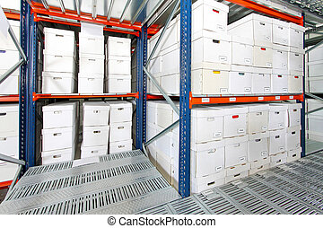 Boxes storehouse 2 - Bunch of white boxes in big storehouse...
