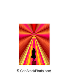 young women-silhouette with abstract background