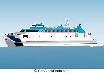 Catamaran Car Ferry - A Blue and White Catamaran Car Ferry...