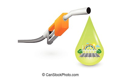 Pump Nozzle and oil drops with alternative energy inside.