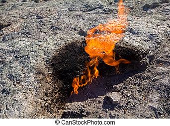 natural, gás, queimaduras, Um, flam,