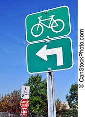 Bicycles turn left sign - Traffic sign for cyclists: turn...