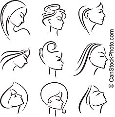 Girls portrait - vector silhouette icon, monochrome -...