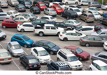 Cars park - BANGKOK - AUG 23: Cars parked at a park and side...