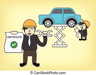 Machinist - Illustration of machinist and car.