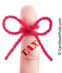 Tax reminder - Tax printed on a finger tied with red bow