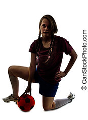 girl with ball isolated