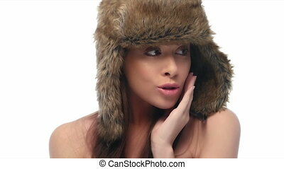 beauty woman expression on white 4k video wearing winter hat
