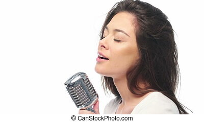 pop female brunette wearing white singer with the retro...