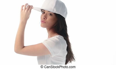 Young beauty woman wearing baseball cap and shirt 4k video