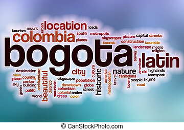 Bogota word cloud with abstract background - Bogota word...