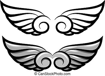 set. two pairs of wings. Black and colored - vector set. two...