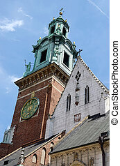 Tower of gothic Wawel Cathedral in Krakow,Poland, unesco heritag
