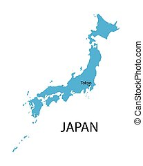 blue map of Japan with indication of Japan