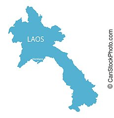 blue map of Laos