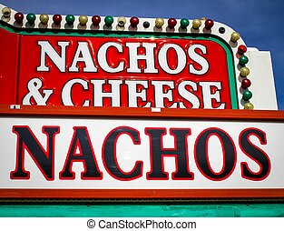 Carnival Food - Vintage sign advertising nachos and cheese.
