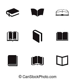 Vector schoolbook icons set on white background
