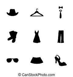 Vector clothes icons set on white background