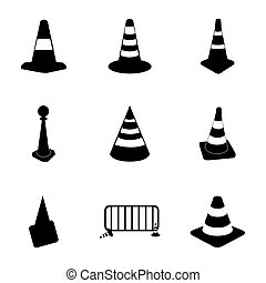 Vector traffic cone icons set on white background